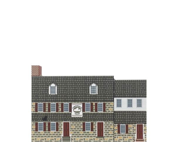 """Vintage Temperance House from Mid-Atlantic Tavern Series handcrafted from 3/4"""" thick wood by The Cat's Meow Village in the USA"""