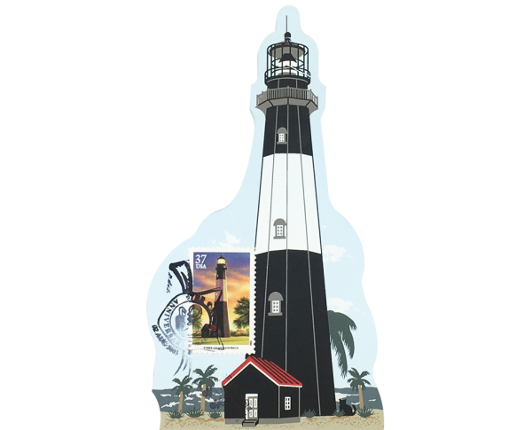 "Tybee Island Lighthouse w/ USPS Lighthouse Stamp from Southeastern Lighthouse Series handcrafted from 3/4"" thick wood by The Cat's Meow Village in the USA"