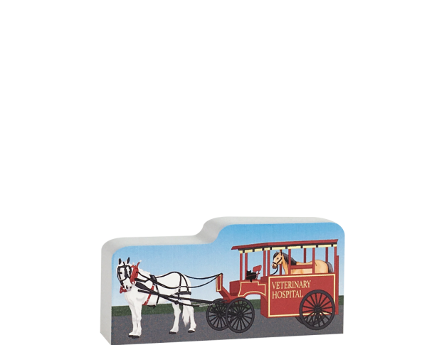 Cat's Meow wooden replica of an antique Veterinary Hospital Wagon to add to your home decor. Crafted by The Cat's Meow Village in Wooster, Ohio.