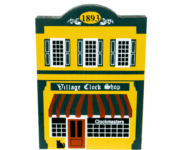"Vintage Village Clock Shop from Series IV handcrafted from 3/4"" thick wood by The Cat's Meow Village in the USA"