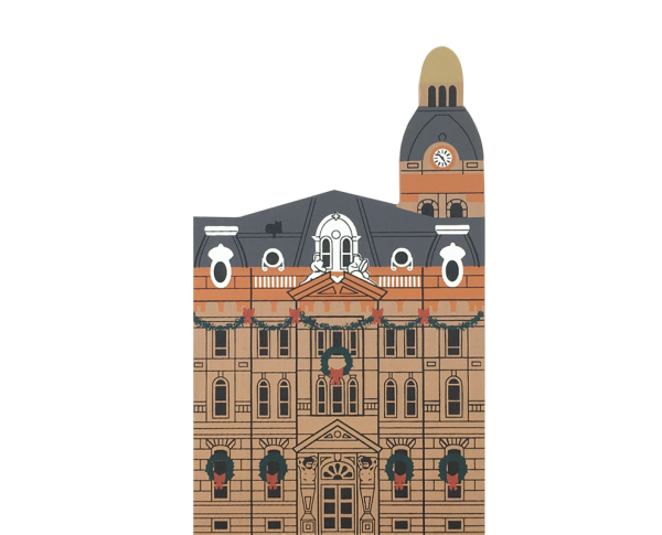 "Vintage Wayne County Court House from Hometown Christmas Series handcrafted from 3/4"" thick wood by The Cat's Meow Village in the USA"