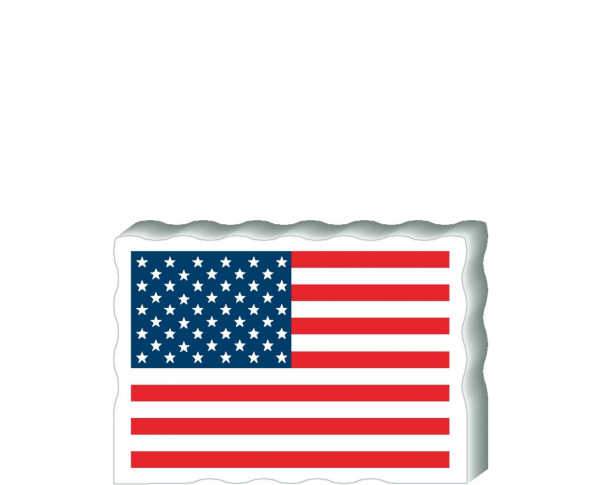"""USA Flag Postcard Front handcrafted from 3/4"""" thick wood by The Cat's Meow Village in the USA"""