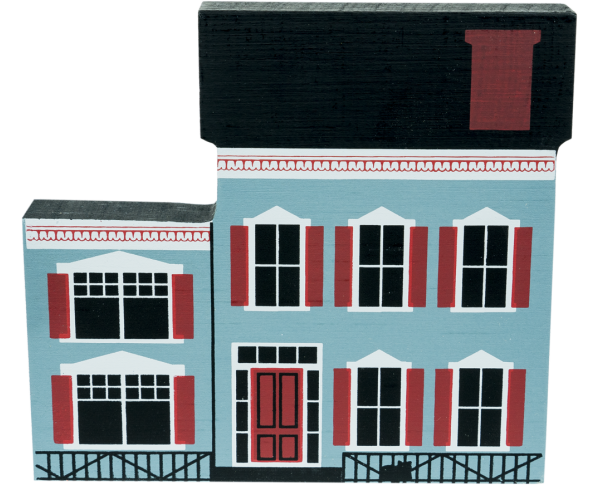 "Vintage Westbrook House from Series IV handcrafted from 3/4"" thick wood by The Cat's Meow Village in the USA"