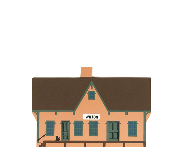 "Vintage Wilton Railway Depot from Liberty Street Series handcrafted from 3/4"" thick wood by The Cat's Meow Village in the USA"