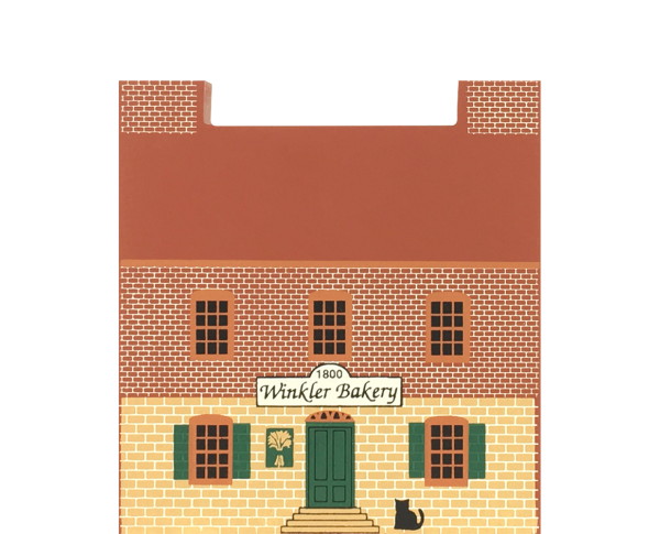 """Vintage Winkler Bakery from Series VII handcrafted from 3/4"""" thick wood by The Cat's Meow Village in the USA"""