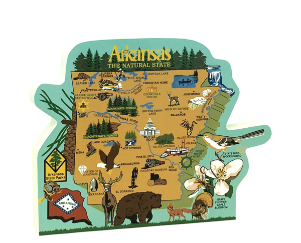 "State map of Arkansas handcrafted in 3/4"" thick wood by The Cat's Meow Village in the USA."