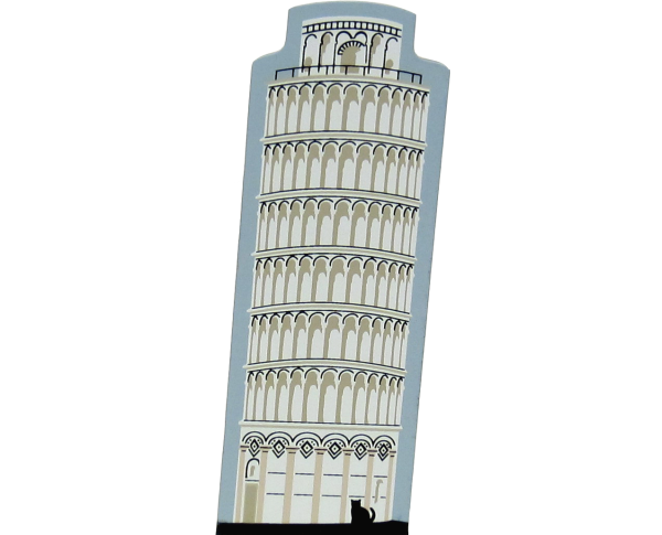 Cat's Meow handcrafted wooden keepsake of the Leaning Tower Of Pisa in Pisa, Italy