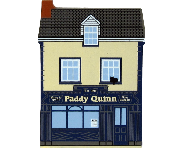 Paddy Quinn's Bar handcrafted in wooden by The Cat's Meow Village to decorate a ledge in your home.