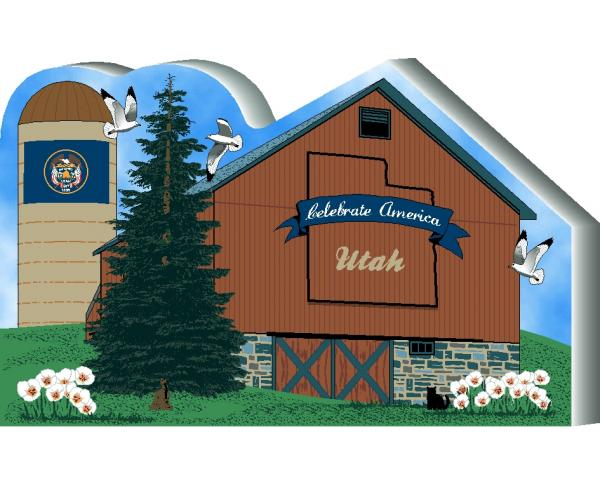 Cat's Meow Village handcrafted wooden barn keepsake representing the state of Utah
