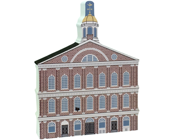 Wooden replica of Faneuil Hall in Boston, Massachusetts. Carry it home, add it to your home decor. Handcrafted by The Cat's Meow Village in the USA.