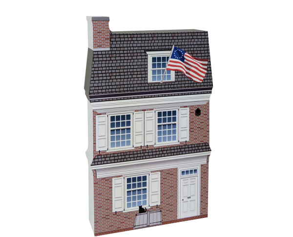 Remember your trip to Philadelphia, PA with your very own replica of this Betsy Ross house. We handcraft it in all its colorful details in Wooster, Ohio. By The Cat's Meow Village.