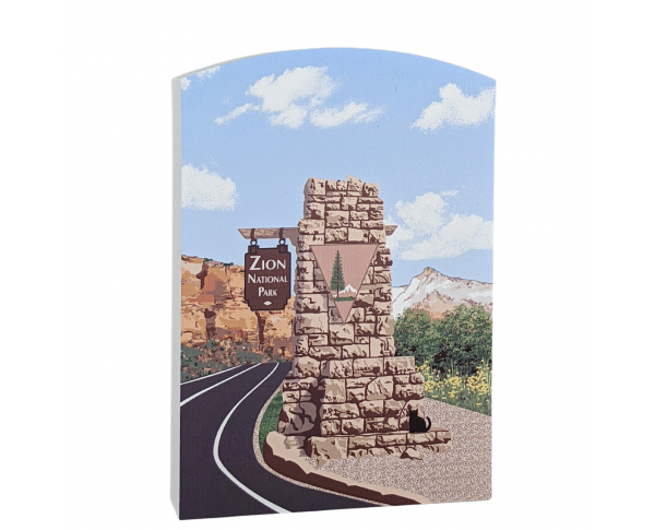 Zion National Park Sign, Utah.  Handcrafted in the USA by Cat's Meow Village.