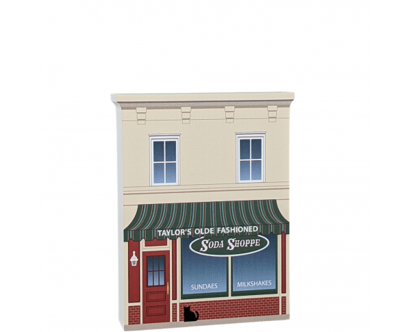 "Taylor's Soda Shoppe replica from Gilmore Girls Stars Hollow. Add this to your home decor. Made in 3/4"" thick wood by The Cat's Meow Village in Wooster, Ohio."