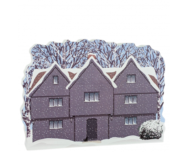 "The Witch House in Winter, Salem, Massachusetts. Handcrafted in the USA 3/4"" thick wood by Cat's Meow Village."