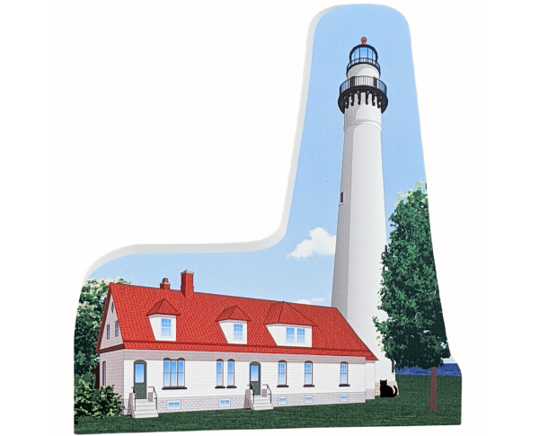 Souvenir wooden replica of Wind Point Lighthouse, Racine, Wisconsin handcrafted in the USA by The Cat's Meow Village.