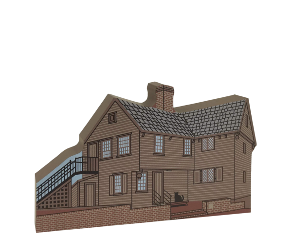 "Wooden replica of Paul Revere House in Boston, Mass, handcrafted of 3/4"" thick wood by The Cat's Meow Village. Add it to your home decor to remember your visit to this historic muesum."