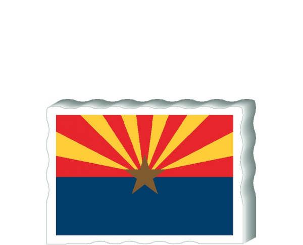Slightly larger than a deck of cards, this wooden postcard version of the Arizona flag can fit into any nook around your home or workplace showing off your state pride! Handcrafted in the USA by The Cat's Meow Village.
