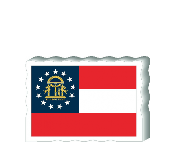 Slightly larger than a deck of cards, this wooden postcard version of the Georgia flag can fit into any nook around your home or workplace showing off your state pride! Handcrafted in the USA by The Cat's Meow Village.