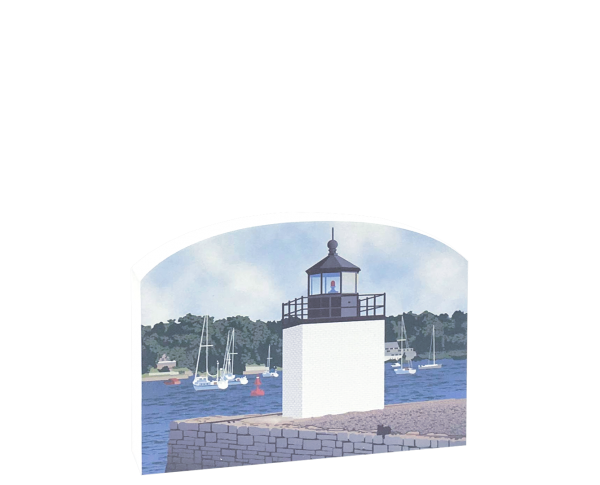 "Replica of the Derby Wharf Light part of the Salem Maritime National Historic Site. Handcrafted of 3/4"" thick wood with colorful details on the front and history on the back. Made by Cat's Meow Village in Wooster, Ohio."