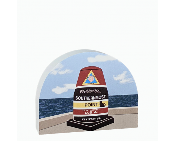 Wooden replica of the Southernmost Point Marker in Key West, Florida handcrafted by The Cat's Meow Village in the USA