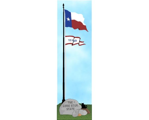 Cat's Meow shelf sitter of the Texas state flag, the Lone Star State.