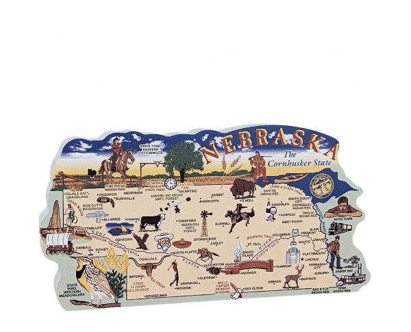 Add this wooden state map of Nebraska to your home decor, handcrafted in the USA by The Cat's Meow Village