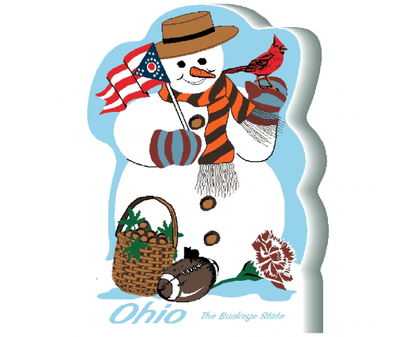"Ohio State Snowman handcrafted and made in the USA by The Cat's Meow Village from 3/4"" thick wood."