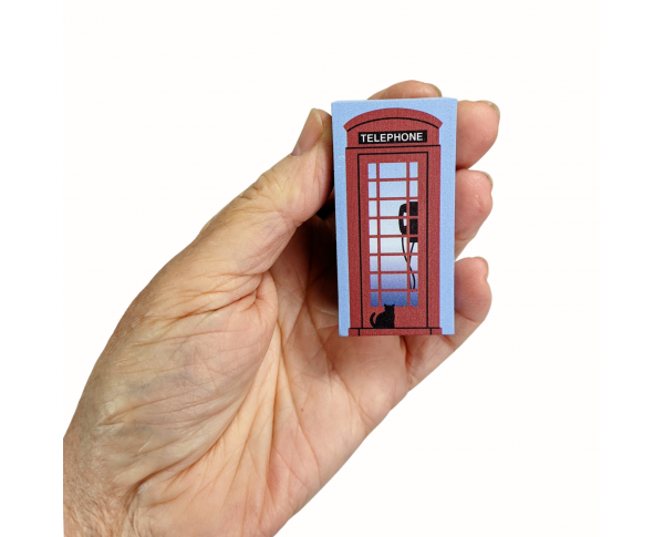 """Red UK Telephone Booth  handcrafted from 3/4"""" thick wood by The Cat's Meow Village in the USA"""