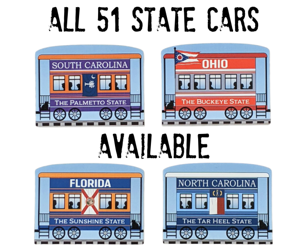 Choose your state cars from the drop down list to add to your Pride Of America train set.