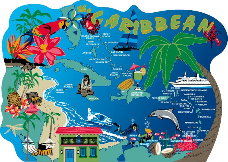 Caribbean Map | The Cat\'s Meow Village