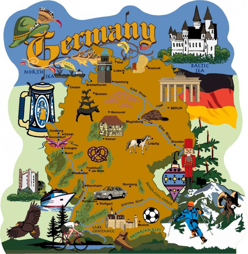 Map of Germany, Alps, Munich, ...