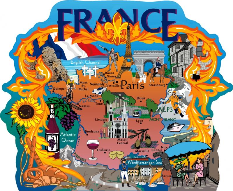Map Of France Cartoon.France Map The Cat S Meow Village