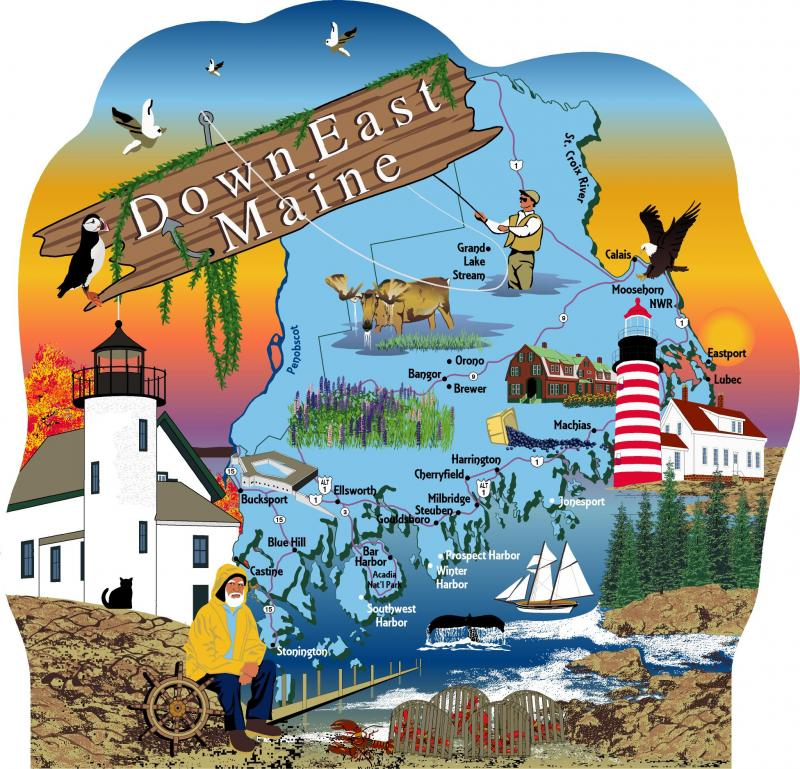 Down East Maine Map, Maine | The Cat's Meow Village Downeast Maine Map on