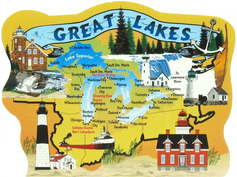 Map Of New York Ohio Area.Great Lakes Map The Cat S Meow Village