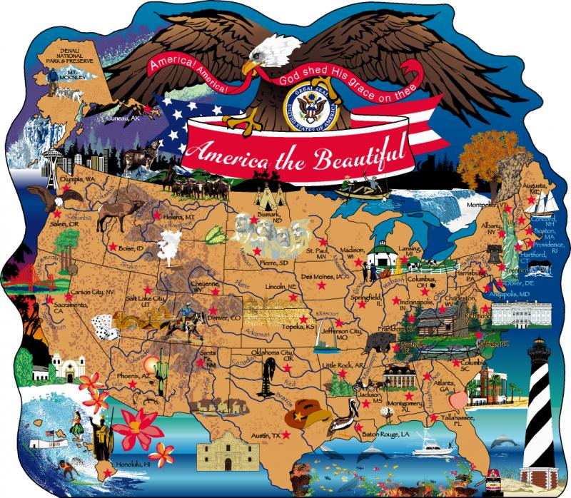 A Map Of The United States Of America.America The Beautiful Map The Cat S Meow Village