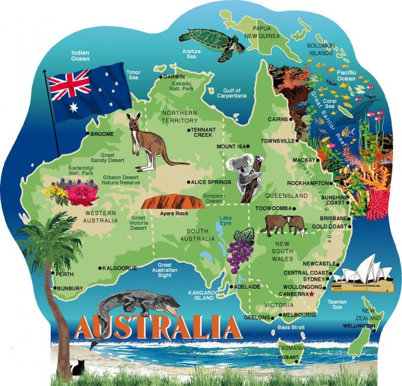 cats meow wooden rendition of australia showing major cities and features of this island continent