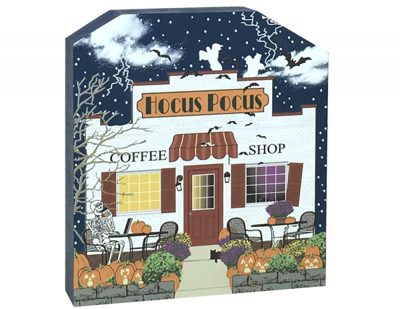 show off your halloween spirit with this wooden hocus pocus coffee shop shelf sitter we