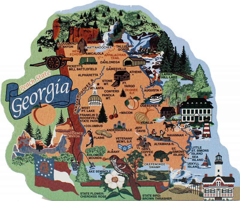 Map Of The State Of Georgia.State Map Georgia The Cat S Meow Village