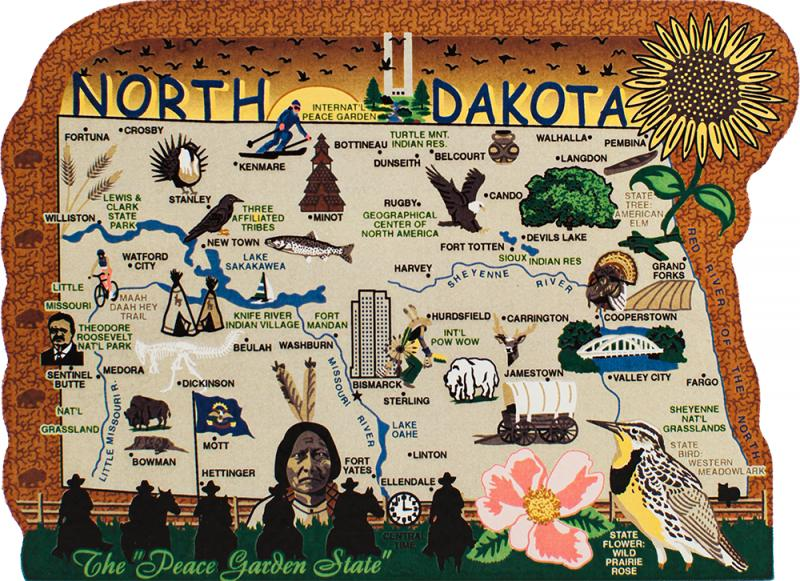 State Map North Dakota The Cats Meow Village - North dakota map usa