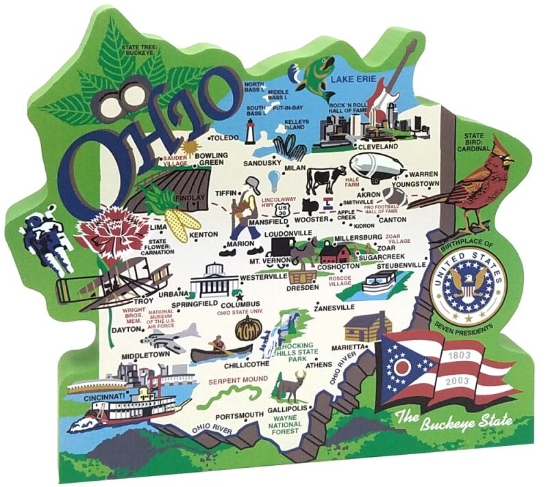 Catu0027s Meow Handcrafted Wooden Map Of The State Of Ohio Featuring The Ohio  Flag, Cardinal