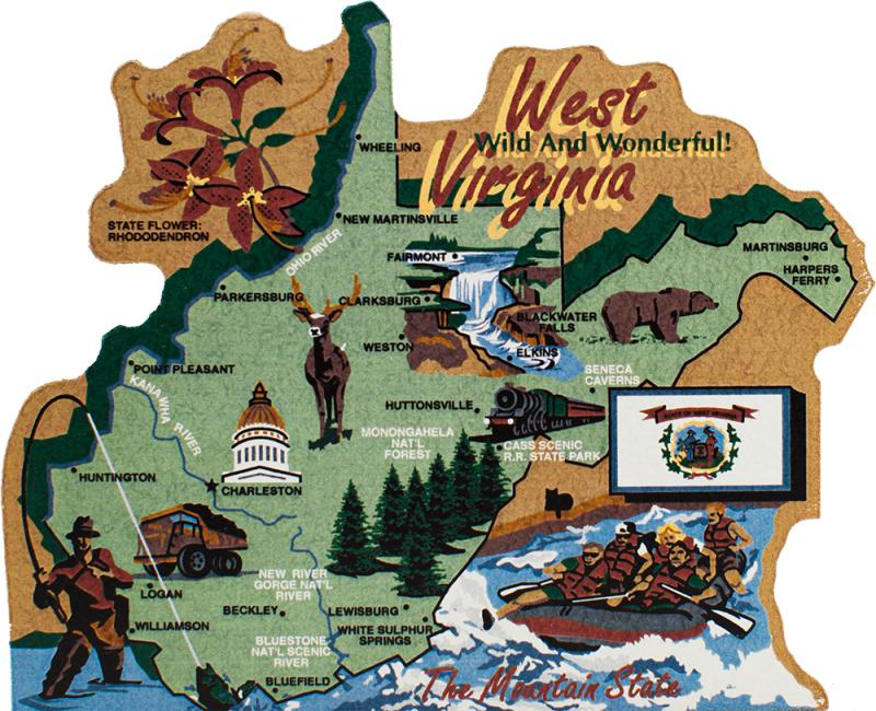 State Map, West Virginia | The Cat\'s Meow Village