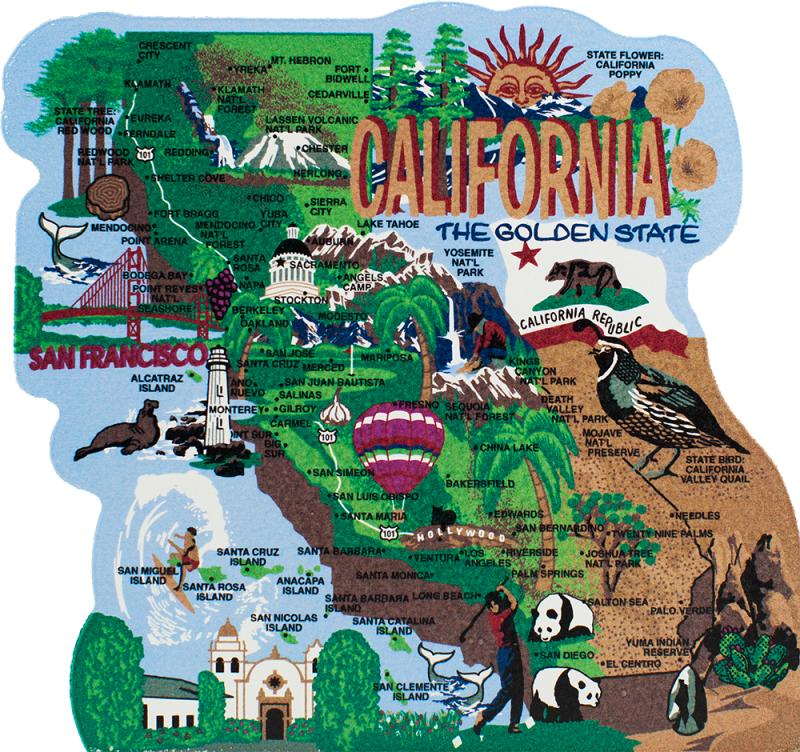 California Map Cartoon.State Map California The Cat S Meow Village