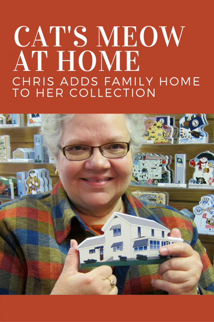 Chris holds a Cat's Meow replica of her home along with the photo she provided our designer