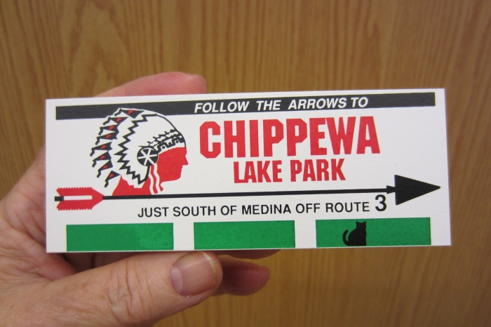 Chippewa Lake Park sign by Cat's Meow Village
