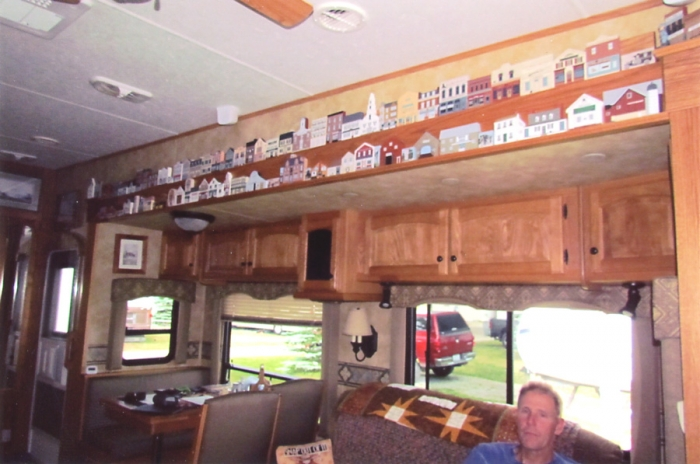 Just part of Bonnie's extensive Cat's Meow collection proudly displayed in their RV.