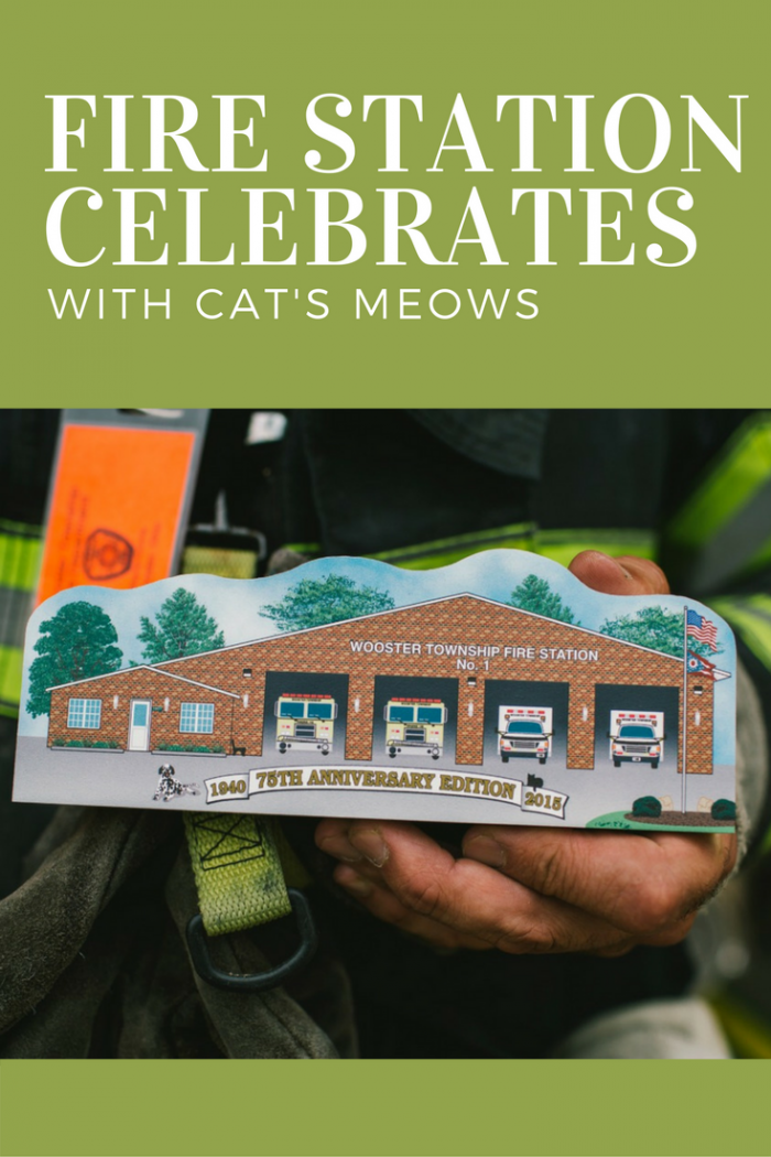Cat's Meow keepsake shelf sitter of Wooster Township Fire Station used to celebrate their 75th anniversary
