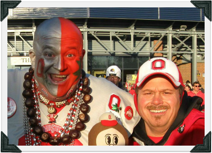 "Tony with OSU fan and friend, ""Big Nut"""