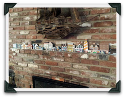 Carla T. has Cat's Meows displayed on her fireplace mantle all year round.